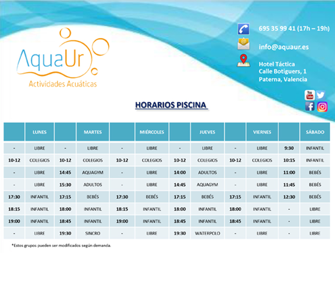Horario piscina 2016 2017 aquaur for Horario piscina alaquas